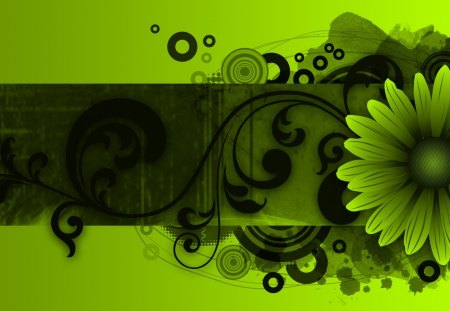 Floral Wave Green - circles, fleur, targets, swirls, abstract, lime, grunge, flower, flowers, shadows