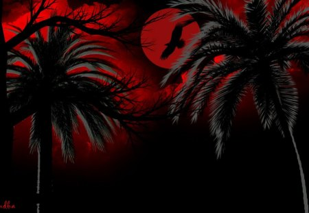 Red and Black Oasis - red, islands, seascapes, eagle, birds, black, trees, sky, clouds, palms, fantasy, moon, gothic, landscapes