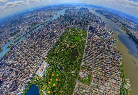 New York City Pano - beautiful, stiched, majestic, central park, hudson, populated