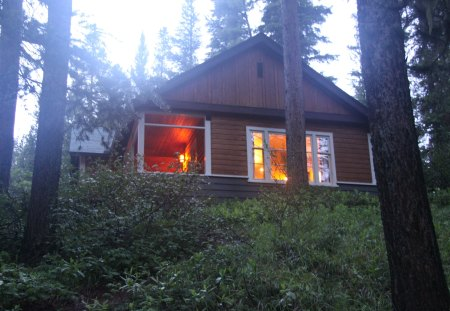 Cottage at Johnston Canyon Banff Alberta - photography, light, Forests, cottage, green, trees