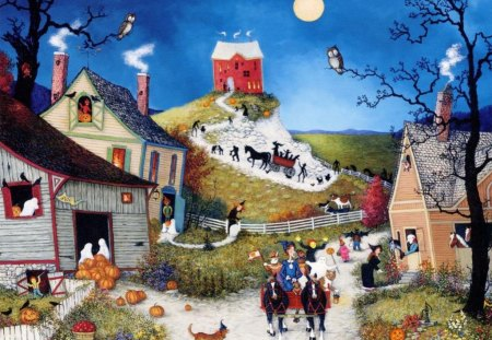 First_Halloween - dog, witch, homes, horse