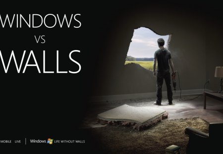 Windows vs. Walls - apple, windows 8, microsoft, vista, xp, windows, windows 7, steve jobs, windows vs walls