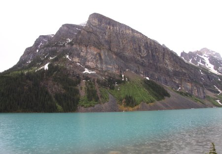 Blue Lake at Banff Alberta - lake, Blue, green, trees, Mountains, Photography