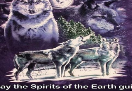 Spirit Guide Of Earth - sky, abstract, wolves, moon, fantasy