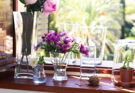 A delightful windowsill♥ - tiny flowers, sunny, soft pink, small, peonies, sweet, windowsill, love, bright, flowers, light, window, clear, delightful, purple, entertainment, summer, crystal, nature, fashion