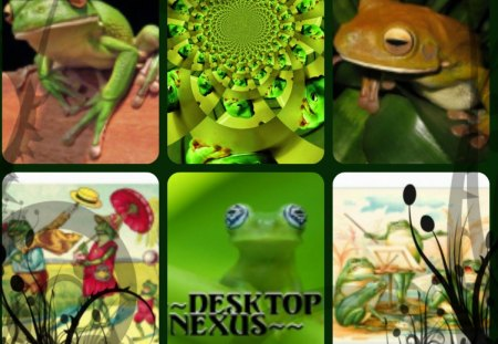 Croaking Collage - croak, frogs, collage, animals