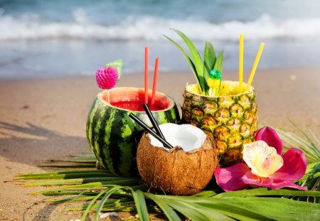 Tropical cocktail - beautiful, sea, beach, yummy, drink, tropics, pineapple, water melon, cocktail, exotic, juice, ocean, coconut, waves, water, flower, summer, nature, tropical