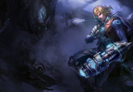 Ezreal - games, male, ezreal, video games, dark background, weapon, league of legends