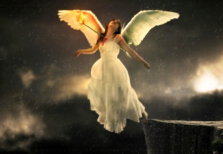 Sad angel - wings, god, sky, sandess, angel, evening, white dressed, woman, girl, darkness, night, sad, lady, rocks