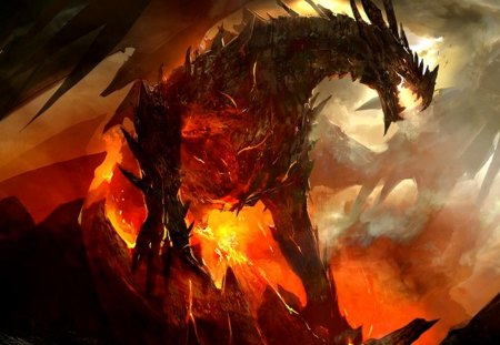 dragon - fantasy, art, artwork, dragons, bahamut