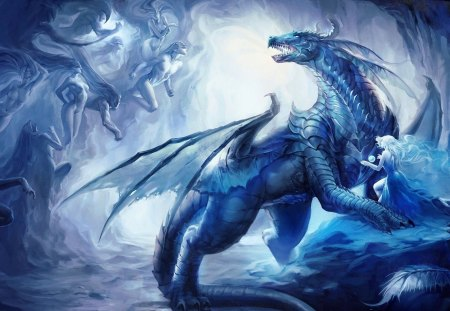 mystic dragon - wings, fantasy, art, creatures, artwork, dragons