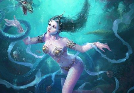 Underwater Fantasy Girl - cg, fantasy, underwater, girl