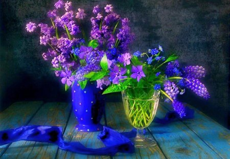 Beauty in purple - vases, green leaves, blue, flowers, purple