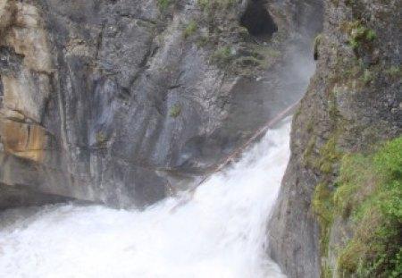 waterfalls at Banff Alberta - photography, waterfalls, green, rivers, grey, rocks