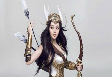 Lady Archer 2 - arrows, dark hair, woman, bow, wing helmet