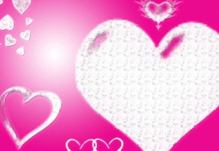 pink hearts - pink, hearts, white, textures