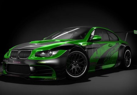 BMW M3 GTR - bmw, green, black, tuned