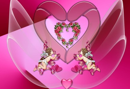 Heart_Wallpaper - flowers, wings, hearts, cupids