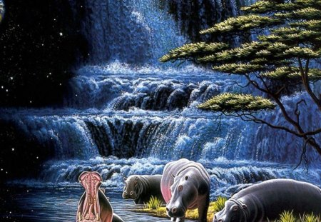 Rhino and falls - 3D and CG & Abstract Background Wallpapers on