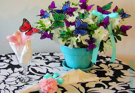 Some wings for Sheryl - flowers, purple, plant, colors, pink, butterflies, red