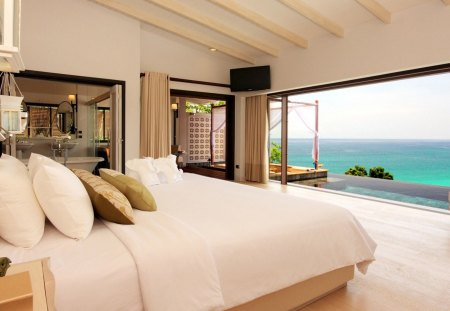 BEDROOM WITH LOVELY VIEW - peaceful, curtains, white, bedroom, bed, view, ocean, relaxation, photography, sky, architecture