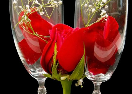 CRYSTAL REDS - weddings, wine, glasses, roses, rosebuds, table decorations, flowers, long stem rose, champagne, reds