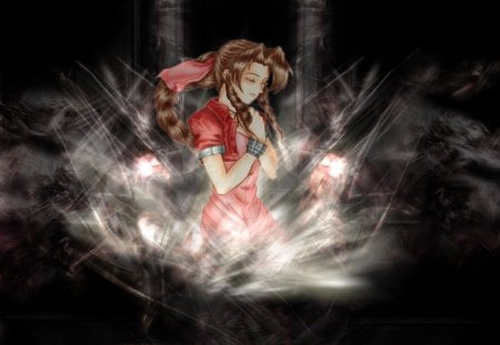 Aerith Gainsborough - games, final fantasy 7, black background, anime, aerith gainsborough, video games, aerith