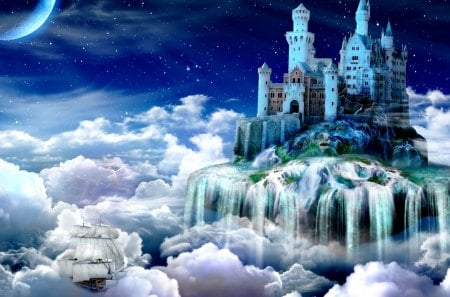 FAIRY TALE CASTLE - night, castle, cloud, fairy tale