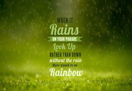 Rain Rainbow - rainbow, green, nature, rain