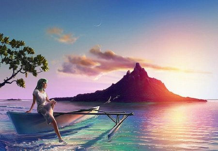 Tranquility - ocean, woman, beautiful colors, kagaya, mountain, tranquility