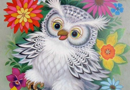 Owl_Wallpaper - flowers, petals, leaves, bird