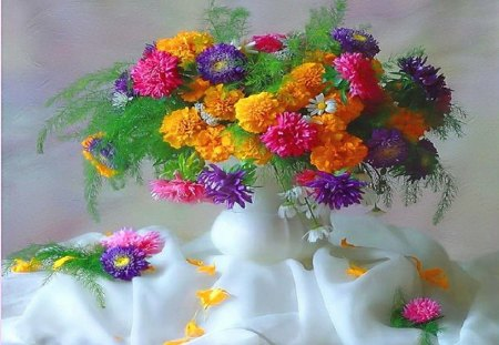 Summer explosion - flowers, white, colors, pink, gold, vase, red, yellow, purple
