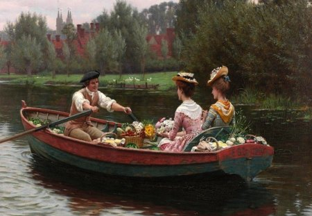 Market Day - row, watercolor, lake, painting, victorian, ladies, courting, flirt, art