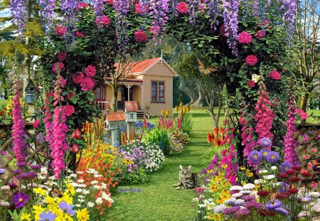 Paradise house - wisteria, colorful, grass, tree, paradise, floral, alley, countryside, kitty, flowers, cat, nice, summer, nature, beautiful, lovely, pretty, cottage, house, green, kitten, garden
