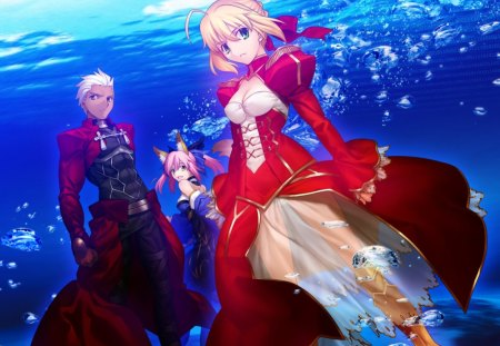 Fate Extra - saber, fate, movie, red dress, game, sea, grail war, jpn, fantasy, anime, love, dream, archer, blue, swords, servant, manga, black, stay night, blond hair, lion, master, cute, fight, duel, shiro, psp