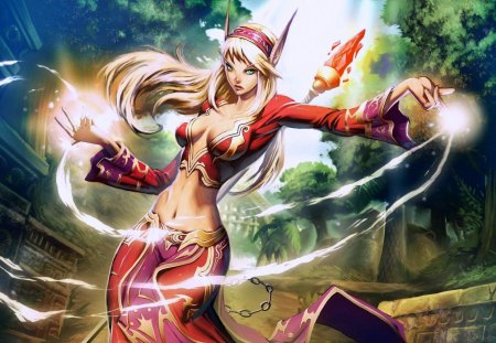 hot witch - witch, red, sorceress, hot, warcraft, wow, cleavage