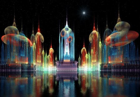 City_of_Lights - reflection, star, buildings, lights