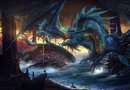 THE BLUE DRAGON - dragon, battle, water, war