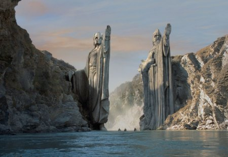 Door to an other World - stones, water, ships, scifi, statues, mountains