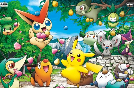 Pokemon eating berries - enjoying, pokemon, happy, eating