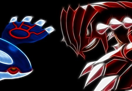 Groudon and Kyogre - legend, kyogre, groudon, dark
