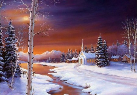 The_Holy_Peaceful_Night - snow, water, trees, church
