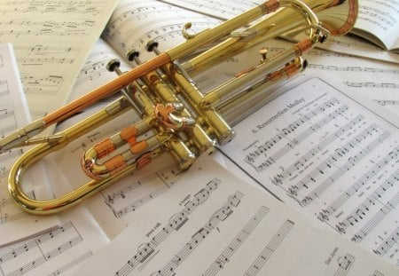 Trumpet Tunes - paper, trumpet, copper, photography, tunes, music, instrument, notes