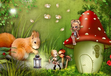 Squirrel Brings the Light - pixies, lightning bugs, squirrel, grass, story book, lantern, mushroom, toadstool, fantasy, green, fairies, fields, light, forest, fairy tale, trees, bees, fireflies, whimsical, lady bug