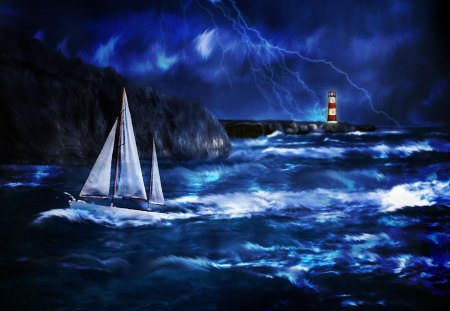 Thunderstorm at Lighthouse - blue, storm, clouds, flashlights, sea, sailboat