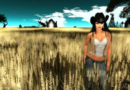 Country Girl - agriculture, girl, field, painting, wheat