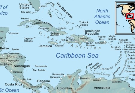 Map of the Caribbean Sea - Other & Nature Background Wallpapers on ...