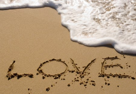 LOVE - water, sand, beach, love
