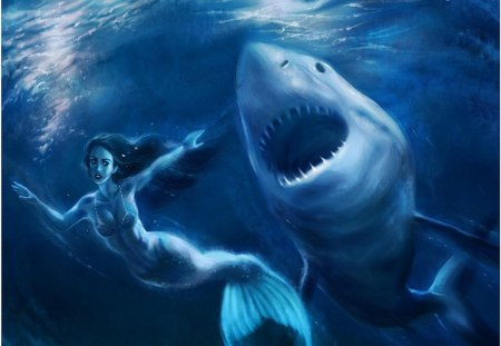 action_scene - shark, the abyss, sea, mermaid