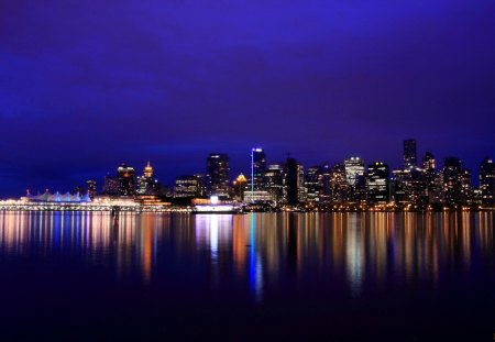 Vancouver Night Lights - night lights, vancouver, cityscapes, british columbia, evening, reflections, sky